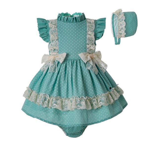 Pre-sale 3pcs Summer Toddler Mint Green Clothingset Pp Pants + Pom Hat Lace Girl Double Bows Clothing Set G-dmcs201-c141 Y190522