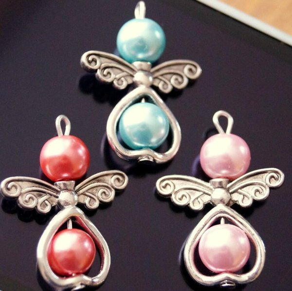 Mixed Acrylic Imitation Round Pearl Pendant Metal Heart Dangle Angel Charms For DIY Necklace Bracelet Jewelry Making Xmas Tree Decoration