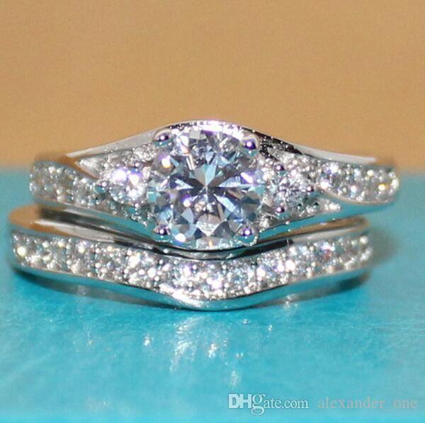 Size 5-10 Women 10KT White gold filled Simulated Diamond Zircon Gemstone rings sets Jewelry Engagement Wedding Couple Band Rings Set