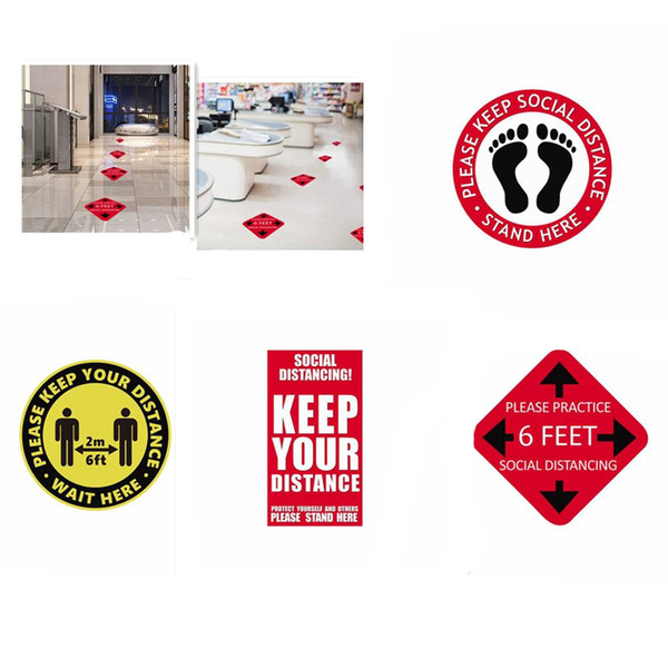 best selling Please Keep Social Distance Indoor Ground Sticker Distance Marker Keep Your Distance Stand Here Floor Decal Marker Floor