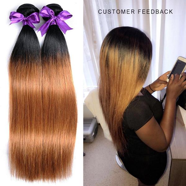 Ombre 1B/30 human Hair bundles with closure Shining Star Hot Selling Free Shipping Peruvian 3 hair bundles