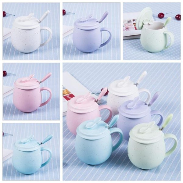 Creative ceramic lovely breakfast personality water cup custom with lid with spoon mug couple coffee 668