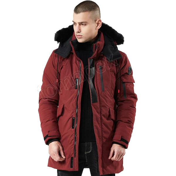 Gli uomini del rivestimento del cappotto di inverno degli uomini Windbreaker con cappuccio in pelliccia addensare Streetwear Hiphop militare Trench lungo Parka Jaqueta Masculina