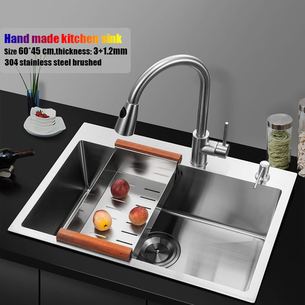 60*45cm topmount stainless steel kitchen sink handmade single bowl big size water tank kitchen faucet brain basket and rack