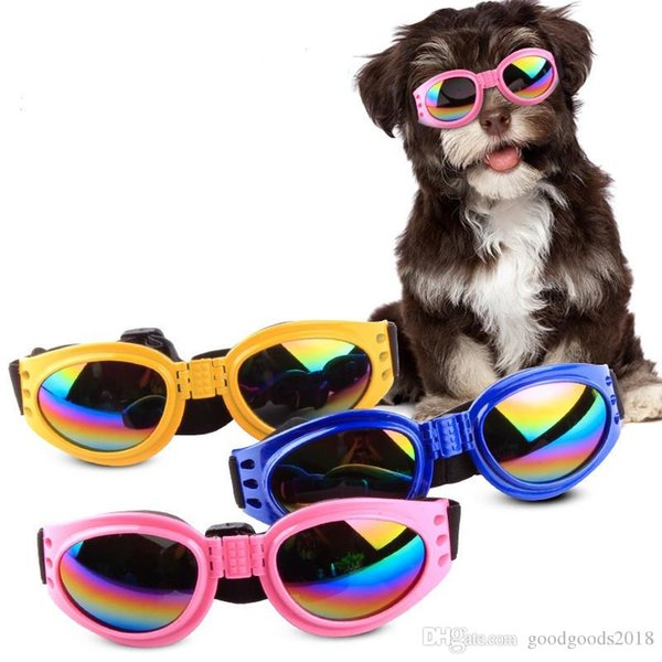best selling Dog Glasses Fashion Foldable Sunglasses Medium Large Dog Glasses Big Pet Waterproof Eyewear Protection Goggles UV Sunglasses ST242