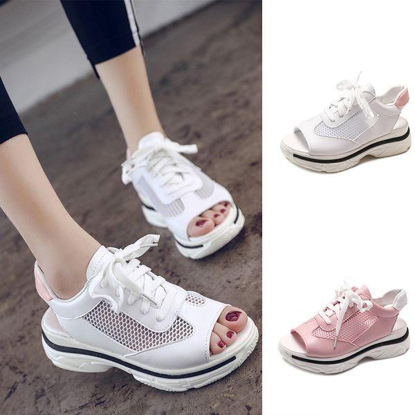 Woman Sandals 2019 Lace Up Summer Shoes Women Platform Sandals Beach Shoes Peep Toe Sandals Casual Shoes Pink White