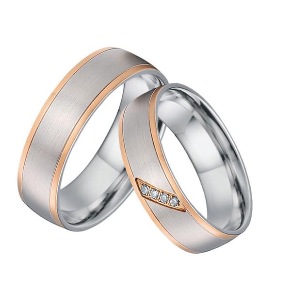 Пользовательские пара кольца мужчины уникальный розовое золото цвет титана ювелирные изделия ручной работы свадебные обручальные кольца для женщин