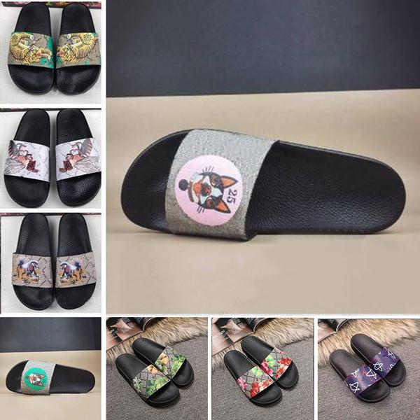 Cheap Brand Men Women Scuffs Sandals Designer Shoes Luxury Slide Summer Fashion Wide Flat Slippery Sandals Slipper Flip Flop 35-46 flower