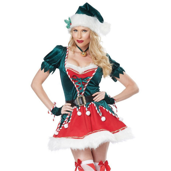 new high quality Sexy Green christmas tree Dress Green Xmas Clothing Santa Claus Cosplay clothes for women Christmas Party Dress