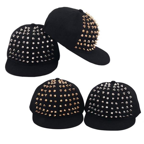 Fashion Punk Rock Hiphop Snapback Caps Street Dancing Hat Unisex Silver Gold Rivet Spike Stud Baseball Cap