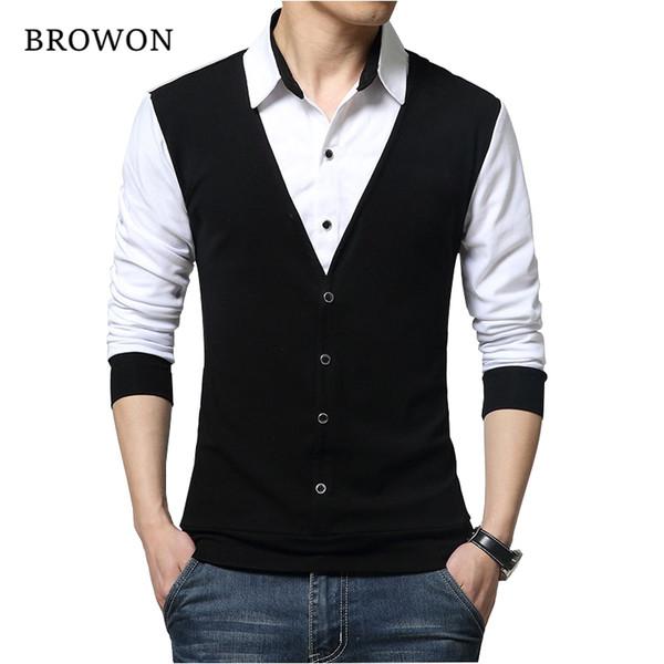 Browon Brand Autumn Mens T Shirts Fashion 2018 Fake Two Designer Clothing Cool T-shirt Men Long Sleeve T Shirt Casual Male J190610