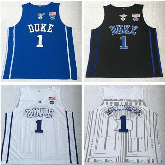 NCAA Duke university 1 Williamson White And Blue Embroidered Jersey Men's Basketball Vests