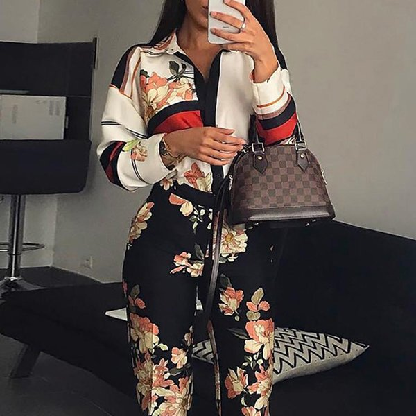 Turn Down Collar Jumpsuits Women Floral Printed Long Sleeve Jumpsuits Romper Vintage Spring Long Pants Jumpsuit Plunging Overall Y19071701