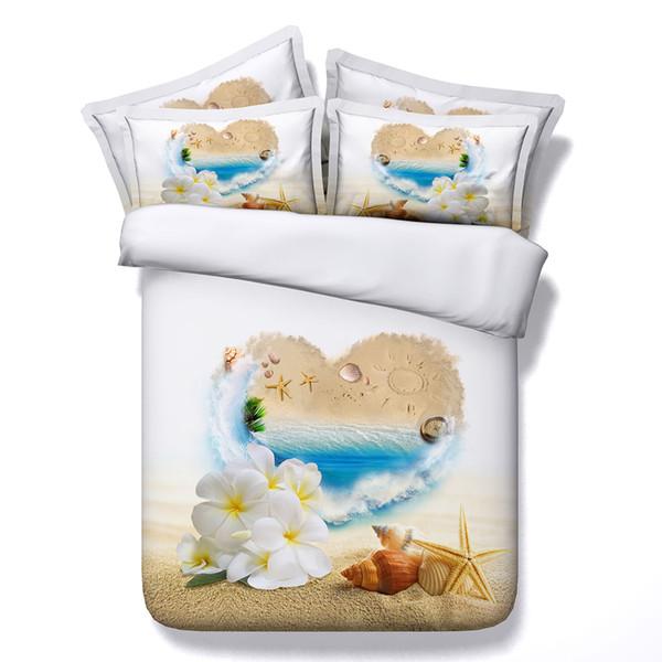 romantic Floral bed set heart love duvet cover 3D Ocean Beach Starfish Duvet Cover Sets Wavy Bedspread Vivid Colored Island Sea Marine Life