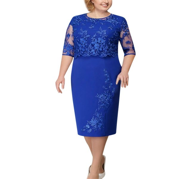 Ladies Large Size Shawl Fake Two-Piece Lace Short-Sleeved Dress Casual Solid Bodycon Dresses Summer Slim Elegant Dress G0520#20