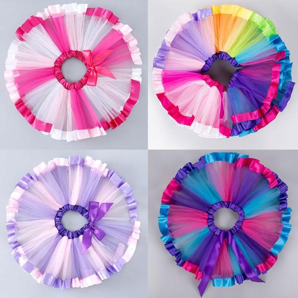 Children Toddler Girls Ballet Dance Ruffles Pleated Tutu Skirt Fancy Rainbow Color Glitter Satin Edge Petticoat Lace Up Bowknot