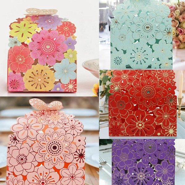 10 stks/set butterfly laser cut hollow geschenken candy boxes wedding party favors gift chocolate bags