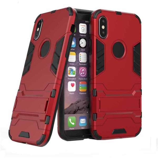 Armor Shockproof Case For iPhone XS Max XR Plastic Holder TPU and PC Case For iPhone X 7 8 plus and Samsung Galaxy A80