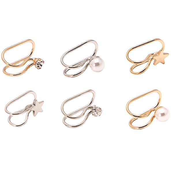 Nueva joyería de moda en forma de U Ear Cuff plata y oro color 1 par chicas mujer simulación de perlas Rhinestone Ear Clip