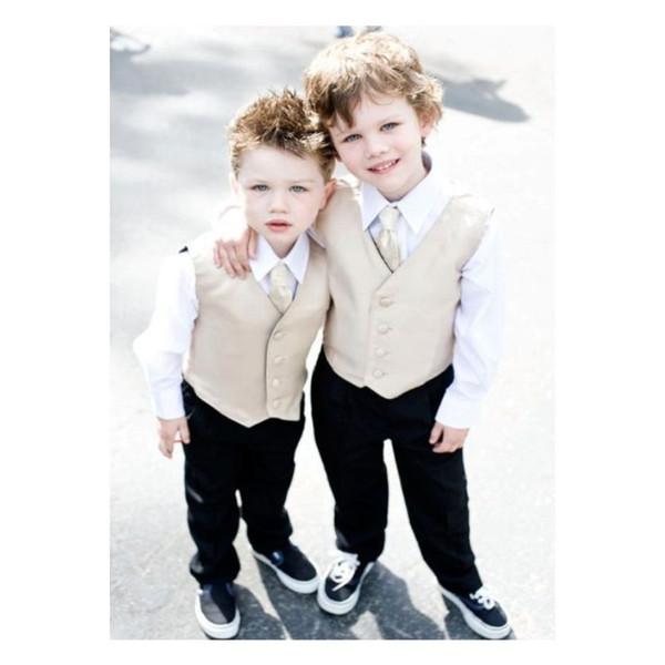 New Beige Boy Vests 2019 Four Boutton Slim Fit Wedding waistcoat Ring Bearer Suit Vests Kids Formal Party Wear Vest