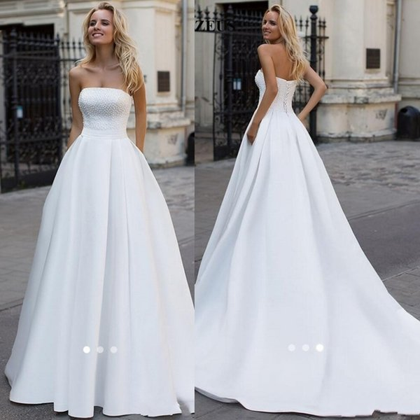 Discount 2019 Simple Elegant Long White Satin Wedding Dresses A Line Strapless Beaded Pearls Plus Size Bridal Gowns Ball Dresses Online Buy Dresses