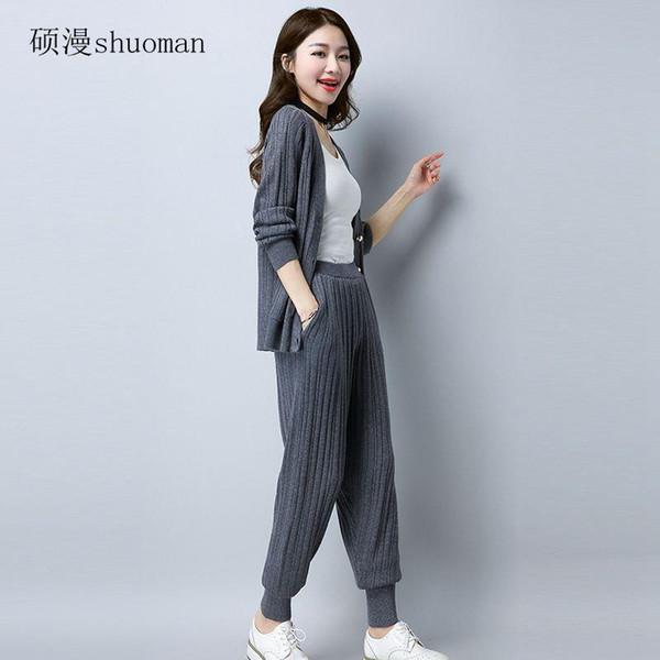 Kadınlar Örme Triko 2017 Moda kaşmir kazak Bayan Hırka Bayan V-Yaka Triko + pantolon Örme Coat