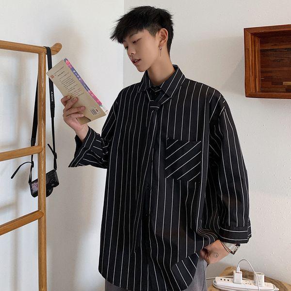 2019 erkek Şerit Baskı Yedi Bölüm Kollu Gömlek Kravat Dekorasyon Fransız Manşet Moda Siyah / beyaz Gömlek Büyük Boy M-5XL