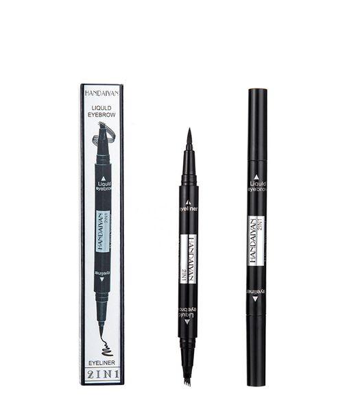 Nuovo 2 in 1 matita per sopracciglia Eyeliner impermeabile duraturo a doppia testa Four Fork liquido nero eyeliner sopracciglio 5 colori di colore misto