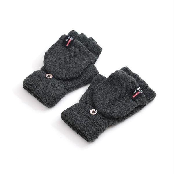 2018 New Men Winter Warm Gloves Knitted Flip Half Finger Mittens Flocking Plus Thick Twisted Fashion Men's Glove Male Mitten