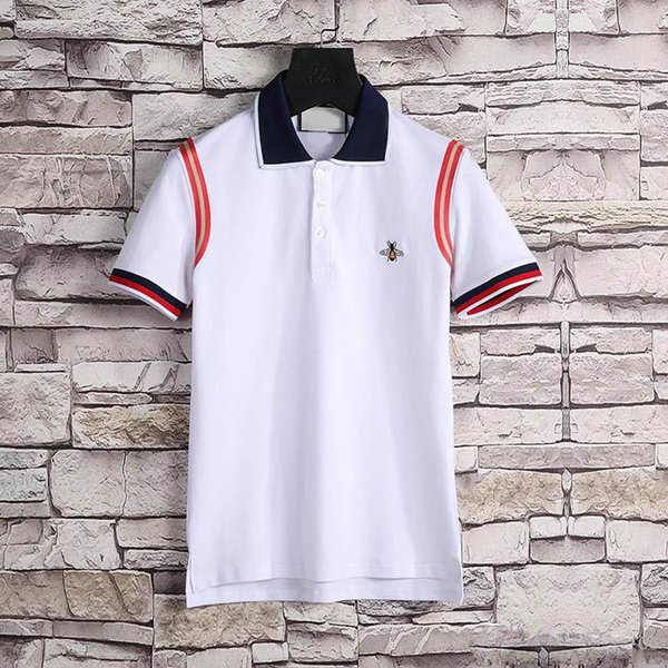 Erkek Polos Marka Yeni Lüks tasarımcı erkek polos Kısa Kollu moda Klasik polo gömlek erkekler nakış Yüksek sokak Rahat polo giyim