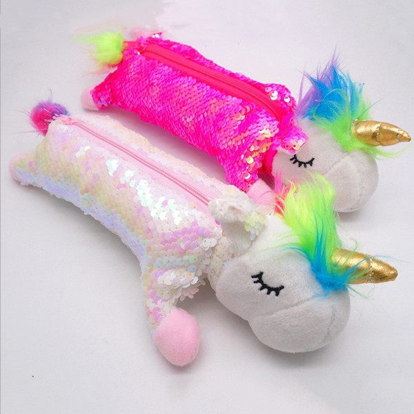 Fashion Cartoon sequined unicorn stationery bag two-sided plush cosmetics container travel portable pencil box pen box 2 styles T3I5327