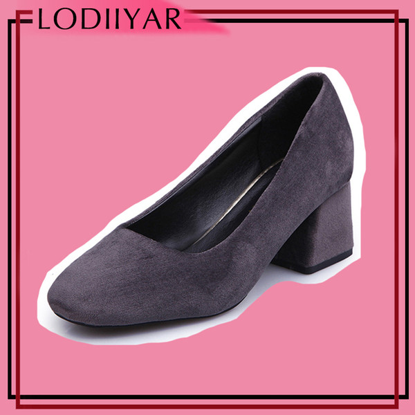 Dress Shoes Women Ladies High Heels Square Toe Work Office Comfortable Pumps Thick Heel Black Red Green Suede Dress Female