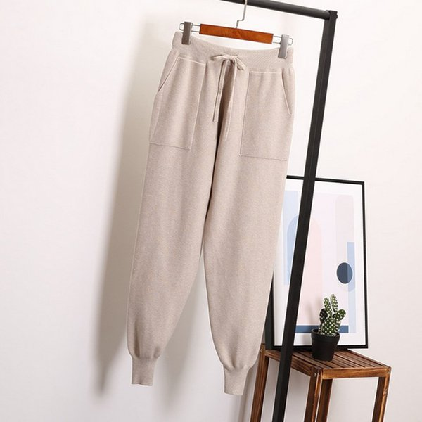 autumn winter Drawstring Harem Pants Women Loose Trousers female Knitted Pants knit Trousers With Pockets Radish