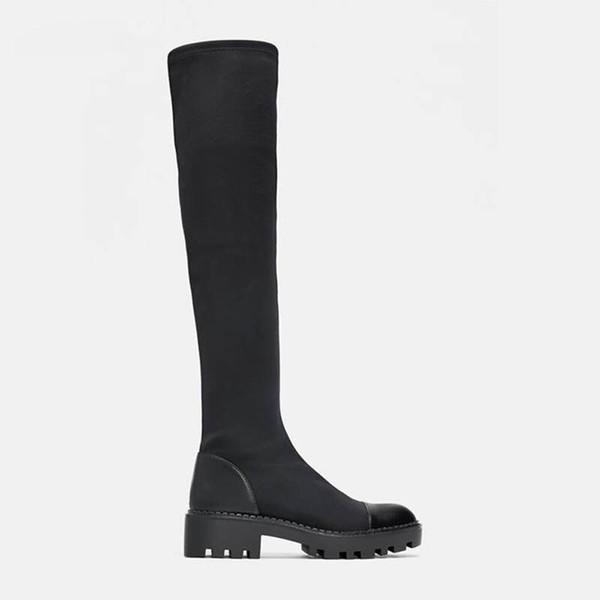 Stretch Lycra Knee High Platform Winter Boots Women Long Boots Winter Shoes Women Sock Over the Knee Boots