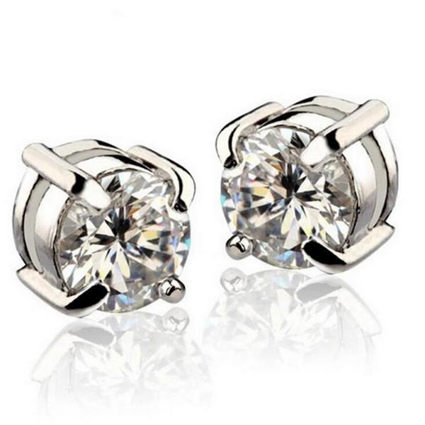 Shiny Crystal medical ear Stud Earrings For Women Men White Black Magnetic Magnet Ear Stud Earrings