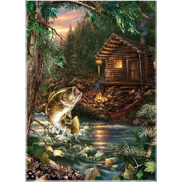 5D Алмаз живопись рождественские украшения Алмаз вышивка мозаика ручной работы детский подарок вышивки крестом, лес шале рыбы