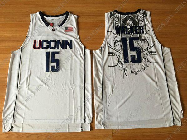 Cheap wholesale NCAA Kemba Walker #15 UCONN Blue White Men Stitched Basketball Sewn Jersey S-2XL