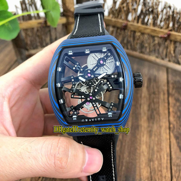 MEN'S COLLECTION Vanguard V 45 T GR CS SQT BR (NR) Black Skeleton Dial Miyota Automatic Mens Watch Blue Luminous fiber Case Watches