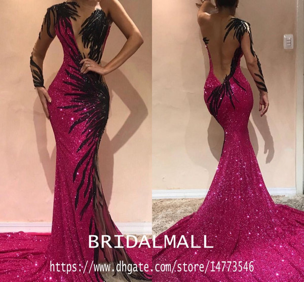 Sexy 2019 Fuchsia Sequined Mermaid Prom Dresses Cheap Hollow Back One Shoulder Formal Evening Dresses Arabic Pageant Celebrity Party Gowns