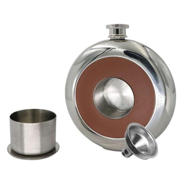 30 Sets Round Stainless Steel Pocket Flask With Build-in Cup 5oz Hip Flask Mirror Polished Bottles+ Free Funnel SN2117