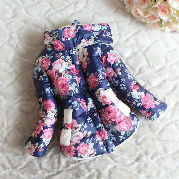 good quality Floral Baby Girls Cotton Puffer Jacket Kids Winter Autumn Thermal Parkas Turtle-neck Collar Warm Clothing Coat