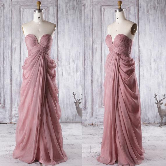 2020 Moda Dusty Rose Real Foto dama de honor vestidos de noche del amor del imperio acanalada gasa País largo de novia nuevo vestido de fiesta