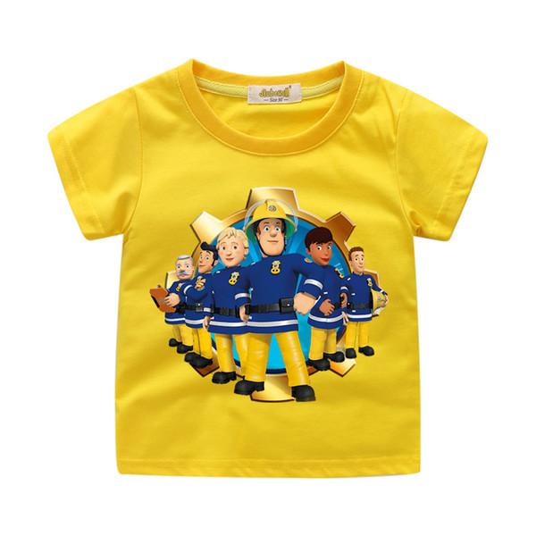 Boy Girls Summer Short Sleeve Cartoon Fireman Sam Print T-shirt Clothes For Kids Tshirt Clothing Children Tee Tops Costume