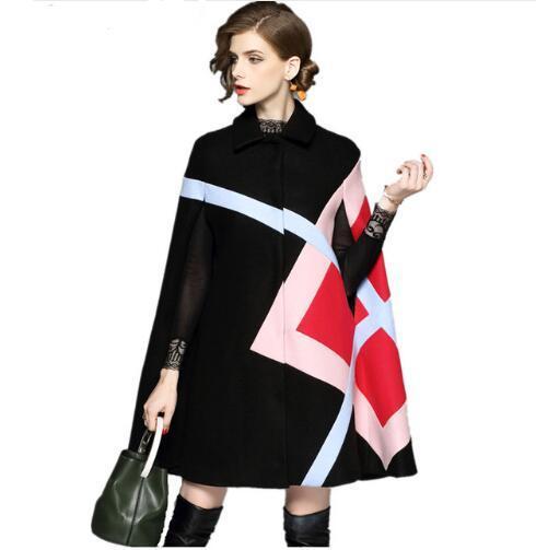 Fashion Women Winter Jacket Geometric Pattern Batwing Sleeve Woolen Warm Cloak Ponchos Cape Coat Wool Blends Outerwear