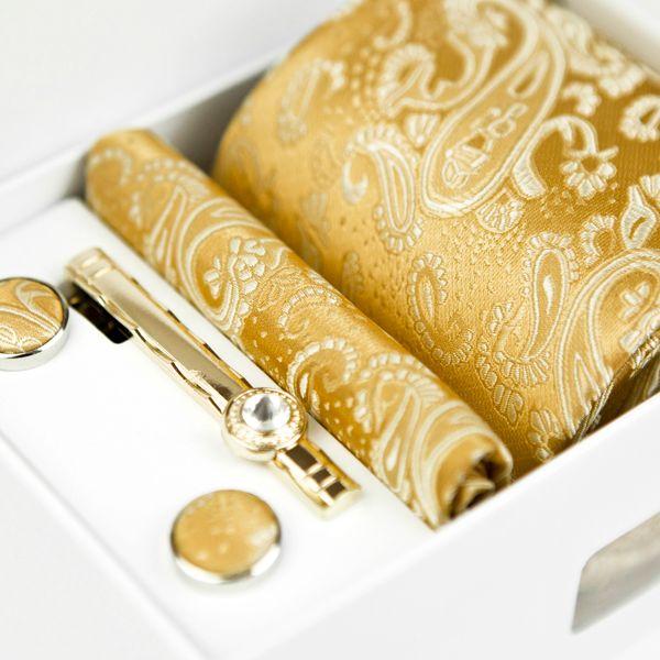 Corbatas Conjuntos de cuatro piezas Floral Paisley Oro sólido Amarillo Champán Corbatas para hombre Bolsillo Cuadrado Clip de corbata Gemelos Nuevo 100% Seda Nueva venta al por mayor