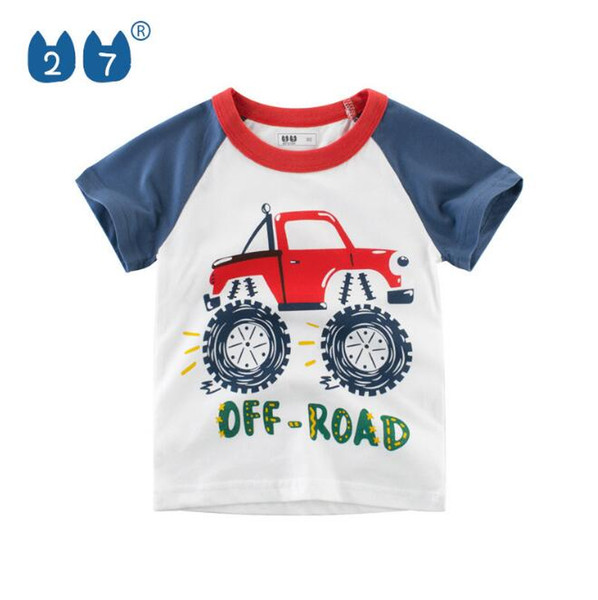 Summer Boys Short Sleeve T-shirt and Cotton Children Wear Children's Clothing Printed children's clothes for cars