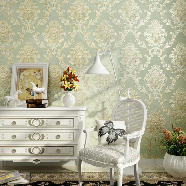 Non-woven Style European Fabric Wallpaper Wall Covering Roll Home Decor 3d Stereo Embossed Damask Living Room Bedroom Wall Paper