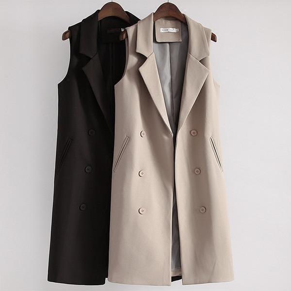 Moda Uzun Siyah Yelekler İlkbahar Sonbahar Kadın Kolsuz Blazer Yelek Ceket Kadın Kruvaze Yelek Ceket Dış Giyim AB1282