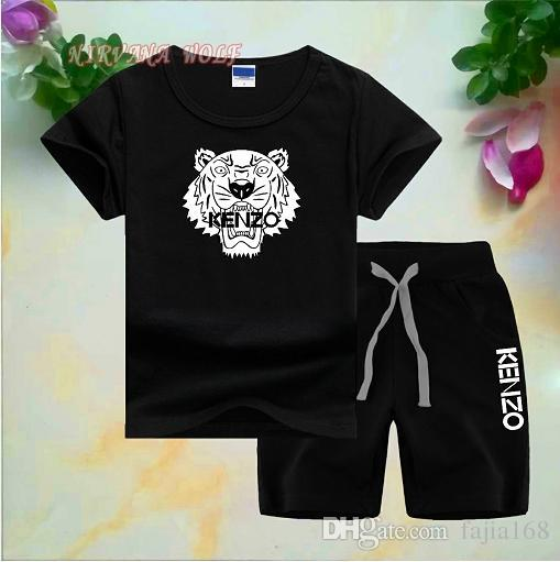 Estilo Águia Childrens Define 1-7 T Crianças 8 Cores T-shirt Calças Curtas 2 Pcs / sets Bebê Meninos Meninas 95% Algodão Estilo de Impressão Conjuntos de Verão