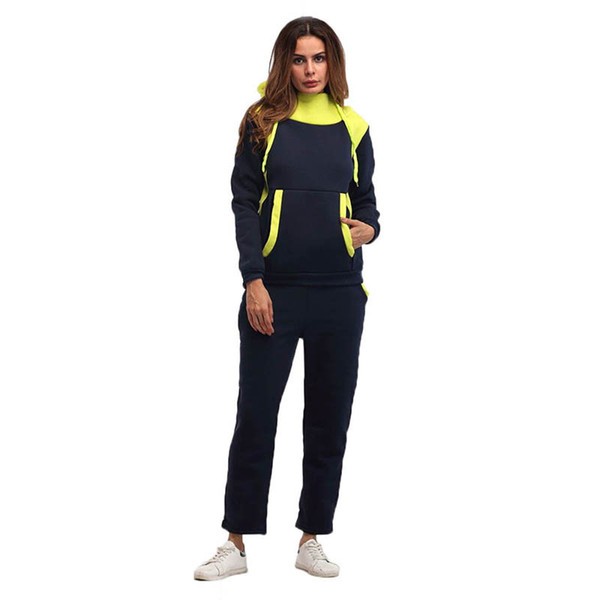 Color matching velvet sports suit hooded large size casual Sweatshirt Two-piece set 2019 new European American women's adult clothing P106